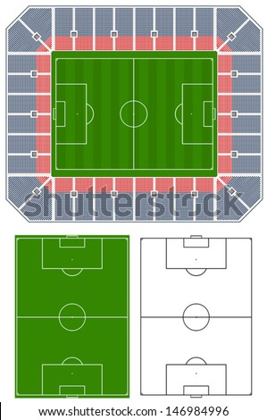 Soccer stadium illustration with stands and extra pitches