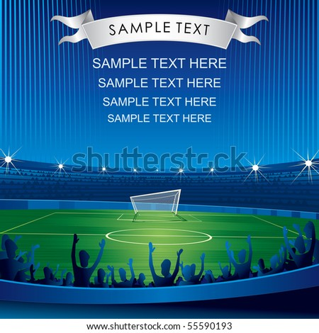 Soccer stadium with fans-vector background for your text - stock vector