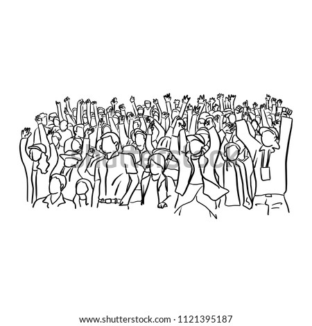 soccer supporter fans cheering soccer match event at stadium vector illustration sketch doodle hand drawn with black lines isolated on white background