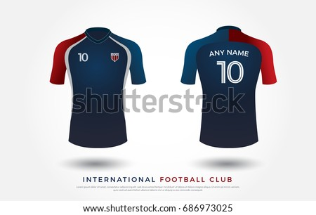 soccer t-shirt design uniform set of soccer kit. football jersey template for football club. blue and red color, front and back view shirt mock up. Vector Illustration