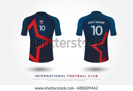 soccer t-shirt design uniform set of soccer kit. football jersey template for football club. blue and red color with star, front and back view shirt mock up. Vector Illustration