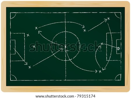 Soccer tactic diagram on a chalkboard,isolated, vector format - stock vector