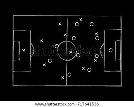 Soccer tactic draft on dark background