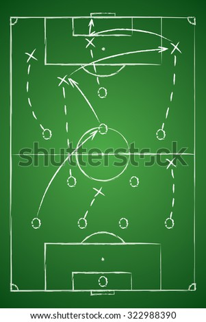 Soccer Tactic Table. Vector Illustration. The Tactical Scheme Of Four One Two Three