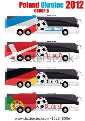 Soccer team bus Netherland, Denmark, Germany, Portugal set eps10