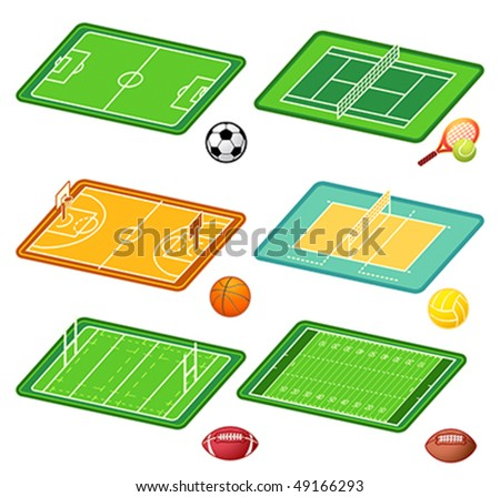 Soccer, tennis, basketball, volleyball, rugby, american football fields layout and balls