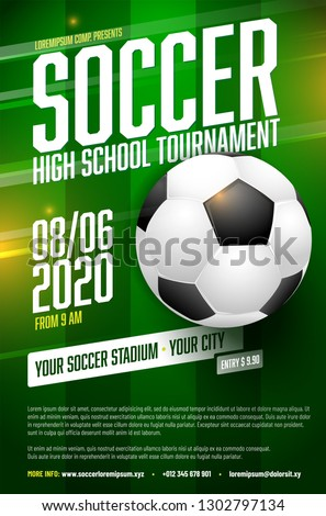 Soccer tournament poster template with  ball, grass and sample text in separate layer - vector illustration