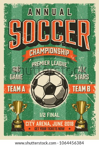 Soccer typographical vintage grunge style poster. Retro vector illustration.