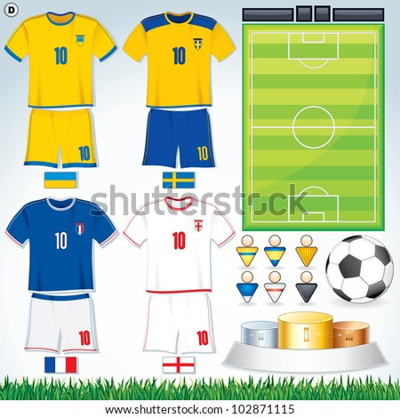 Soccer Vector Collection. Euro 2012 Group D. Swedish, Ukrainian, French, English Teams.
