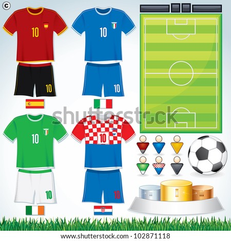 Soccer Vector Collection. Group D.Abstract National Football Uniform with Variety Objects.