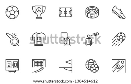 Soccer Vector Line Icons Set. Cup Winner, Football Championship, football world Cup, Stadium. Editable Stroke. 48x48 Pixel Perfect.