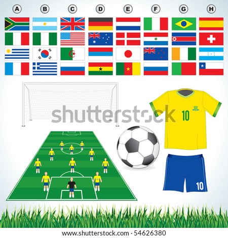 Soccer vector set : soccer field, soccer ball, uniform, lawn all qualified teams flags-easy editable flat colors