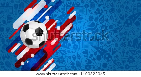 Soccer web banner for special football match world cup 2018. Realistic 3d ball illustration with festive color background. EPS10 vector.