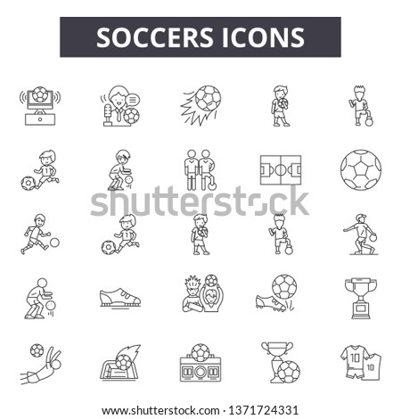 Soccers line icons, signs set, vector. Soccers outline concept, illustration: soccer,football,sport,ball,whistle,goal,flag,championship #1371724331