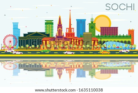 Sochi Russia City Skyline with Color Buildings, Blue Sky and Reflections. Vector Illustration. Business Travel and Tourism Concept with Modern Architecture. Sochi Cityscape with Landmarks.
