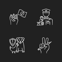 Social activism chalk white icons set on black background. Animal right demonstration. Wildlife protection. Freedom of press. Journalism and media. Social aid. Isolated vector chalkboard illustrations