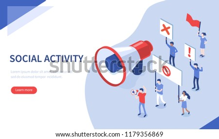 Social activity and protest concept. Can use for web banner, infographics, hero images. Flat isometric vector illustration.