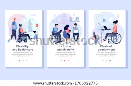 Social adaptation of disabled people, Handicapped people support, wheelchair person at work, disabled employment  and  rehabilitation concept illustration