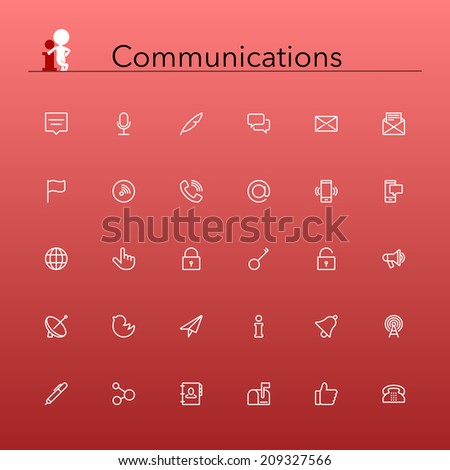 Social and communications line Icons set Vector illustration