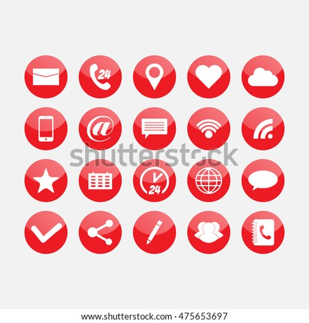 Social and media glass buttons. Red icons #475653697