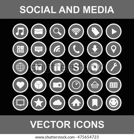 Social and media vector icons - Shutterstock ID 475654723