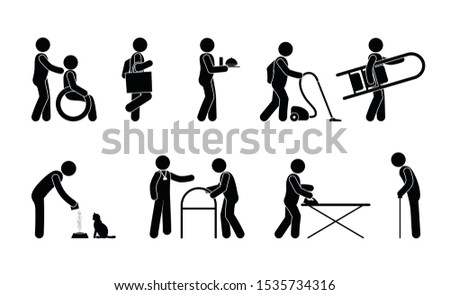 social assistance for the disabled, social workers, stick icon pictogram set, isolated silhouettes of people with disabilities and their assistants in household matters
