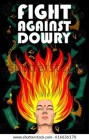 Shutterstock Social Awareness concept poster for Fight Against Dowry. Vector illustration