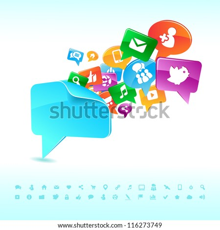Social background network of the icons vector