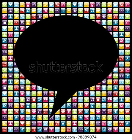 Social bubble shape over mobile phones applications software icon set background. Vector file layered for easy manipulation and customisation.