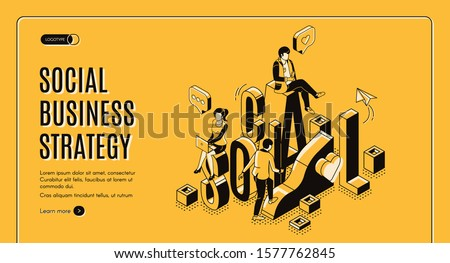 Social business strategy isometric landing page. Businesspeople work in internet using gadgets climbing up by growing data chart. Digital marketing analytics 3d vector line art illustration web banner
