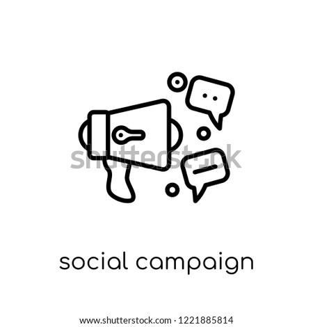 social campaign icon. Trendy modern flat linear vector social campaign icon on white background from thin line General collection, editable outline stroke vector illustration