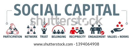 Social capital  include such things as interpersonal relationships, a shared sense of identity, a shared understanding, shared norms, shared values, trust, cooperation, and reciprocity.  Photo stock ©