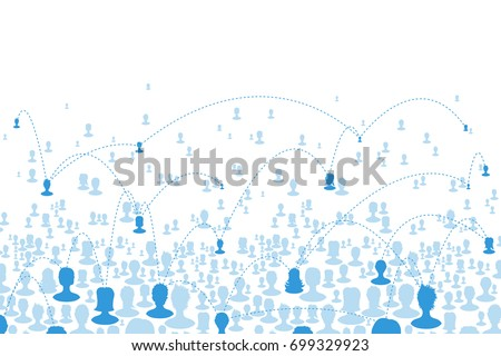 Social communications concept. People heads silhouettes composed in one net. Social media concept background, isolated to white