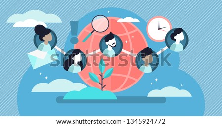 Social community vector illustration. Flat tiny linked persons group concept. Communication media platform for friends, family, contacts or business connection. International citizens identity member.