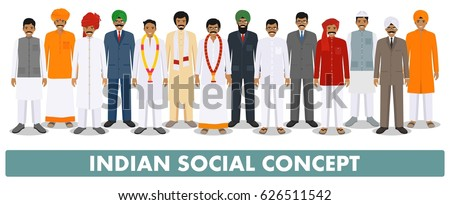 Social concept. Group indian people standing together in different traditional national clothes on white background in flat style. Vector illustration.