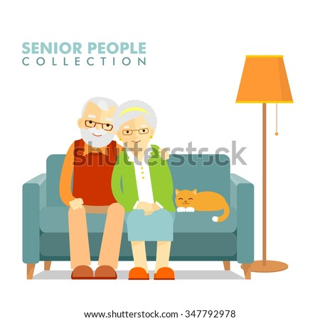 Social concept - old people couple. Happy senior man woman family sitting on the sofa and rest