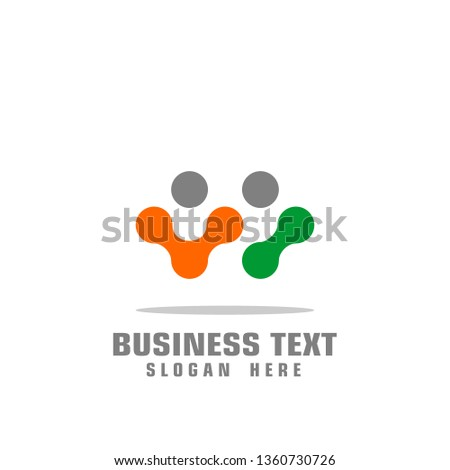 social connection logo, digital tech logo, people graphic logo template, vector icons. stock photo