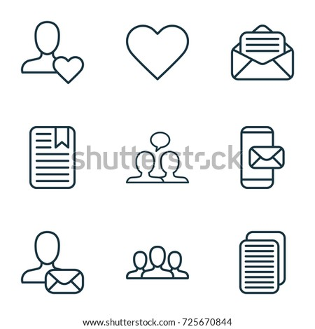 Social Contact Icons Set. Collection Of Note Page, Conversation, Society And Other Social Contact Icon Elements. Also Includes Symbols Such As Open, Mailing, Letter.