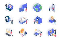 Social contacts isometric icons set. People sending email and chatting with digital devices flat vector illustration. Online communication and messaging 3d isometry pictograms with people characters.