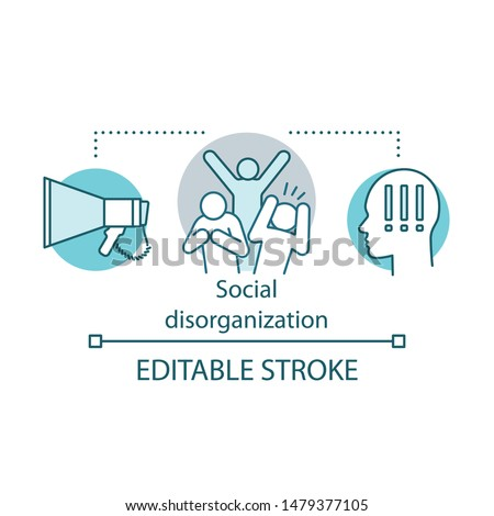 Social disorganization, conflicts concept icon. Antisocial, violent behavior idea thin line illustration. Social panic, conflicts and unrest. Vector isolated outline drawing. Editable stroke