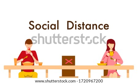 Social distance concept in restaurant : a man and a woman sit a distance apart in a restaurant or a cafe on the counter table. COVID-19 pandemic time. Vector illustration, Flat design
