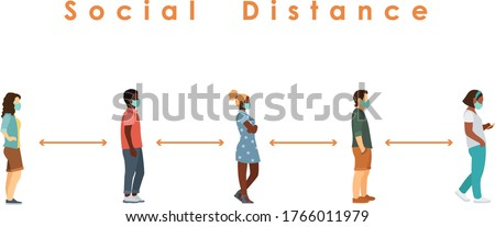 social distance. Full length of cartoon black and white sick people in medical masks standing in line against at a safe distance of 2 meters or 6 feet. flat vector illustration
