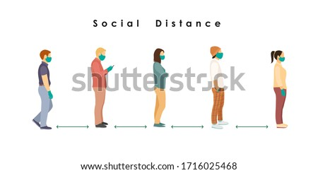 social distance. Full length of cartoon sick people in medical masks and gloves standing in line against at a safe distance of 2 meters or 6 feet. flat vector illustration