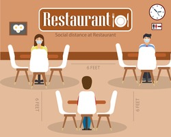 Social distance in New normal Concept, People men and women wearing medical face mask live at Restaurant. prevent pandemic of corona virus or COVID-19. Flat Vector illustration.