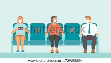 Social distance in public place. Seating regulations in airport area.   People wearing mask to prevent infection from coronavirus COVID-19. Flat vector illustration