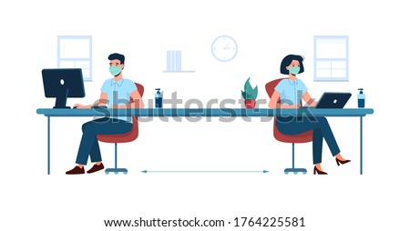 Social distance in the office. New safe work standards. Man and woman workers, sitting and working at a distance from each other, in medical masks . Vector isolated, flat, new business requirements.