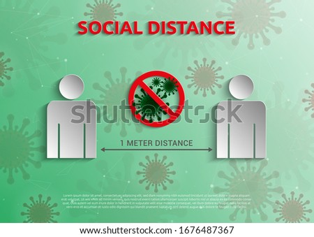 Social Distance 1 meter for prevention of spreading the infection in Covid-19 Outbreak. Vector illustration of 2 people icon with 1 meter distance concept and stop spreading bacteria icon.