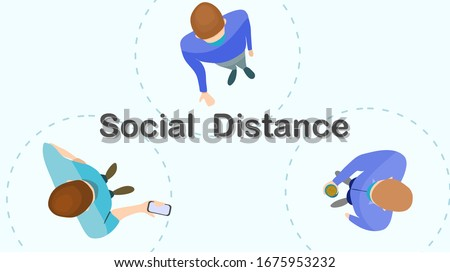 Social distance preventing infection concept : Top view of 1 meter isolation between person to stop spreading of respiratory virus. vector illustration, flat design
