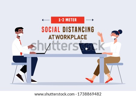 Social distancing at office workplace. Employees are maintain distance during work at workplace. Safety awareness of covid-19 virus. Vector illustration of people are working on a office desk.