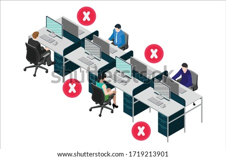 Social distancing at office workstation. Employees are working together on desk with maintaining distance for covid 19 virus. Vector illustration of office signage.